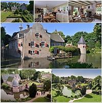 Исторический замок на воде 17-го века в Голландии.
