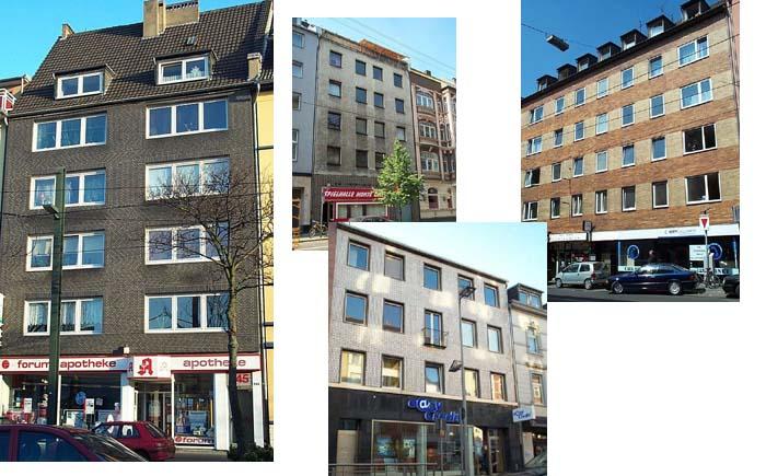 Пакет 4 многоквартирных домов в центре Дюсседорфа, столице Северной Вестфалии, Германия